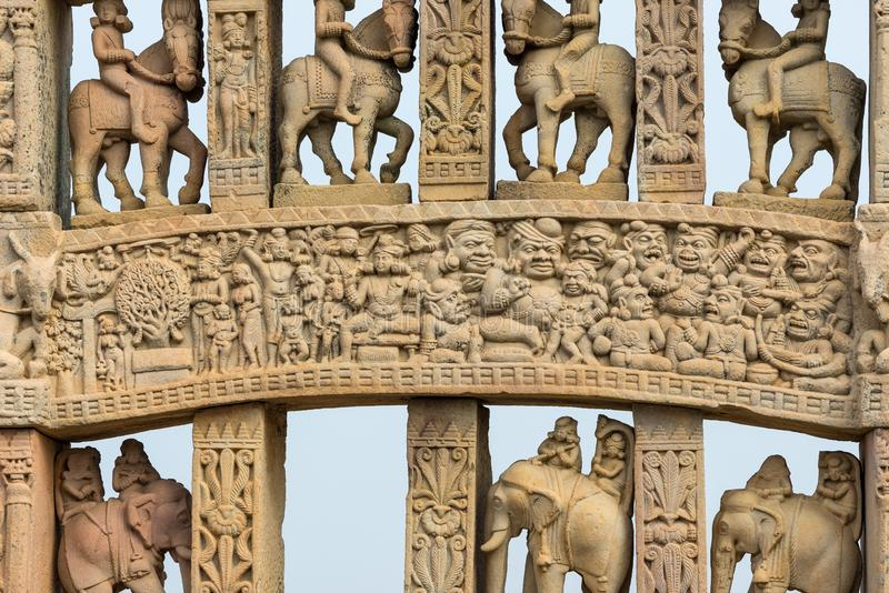 Sanchi Stupa, Ancient buddhist building, religion mystery, carved stone. Travel destination in Madhya Pradesh, India. Sanchi Stupa, Ancient buddhist building stock image