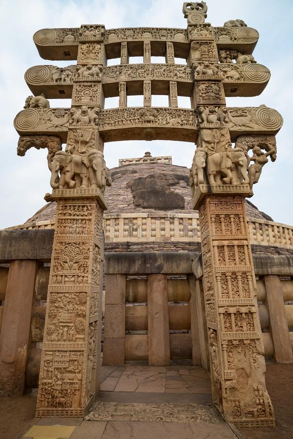 Sanchi Stupa, Ancient buddhist building, religion mystery, carved stone. Travel destination in Madhya Pradesh, India. stock images