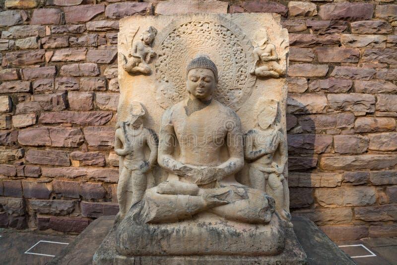Sanchi stupa, Antyczny buddyjski budynek, religii tajemnica, rzeźbił kamień Podróży miejsce przeznaczenia w Madhya Pradesh, India zdjęcia stock