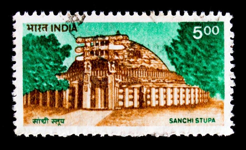 Sanchi Stupa byggnad, Definitives - byggnadsserie, circa 1994 arkivfoton