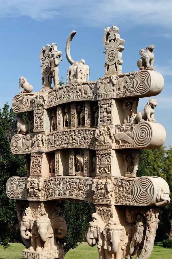 Sanchi stupa i Indien royaltyfri foto