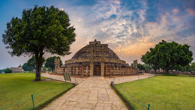 Sanchi Stupa, Madhya Pradesh, India. Ancient buddhist building, religion mystery, carved stone. Sunrise sky. royalty free stock images