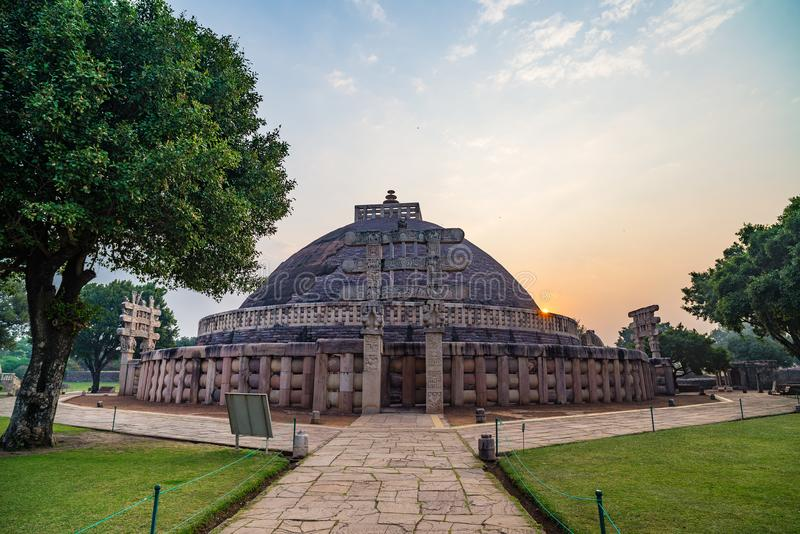 Sanchi Stupa, Madhya Pradesh, India. Ancient buddhist building, religion mystery, carved stone. Sunrise sky. stock images