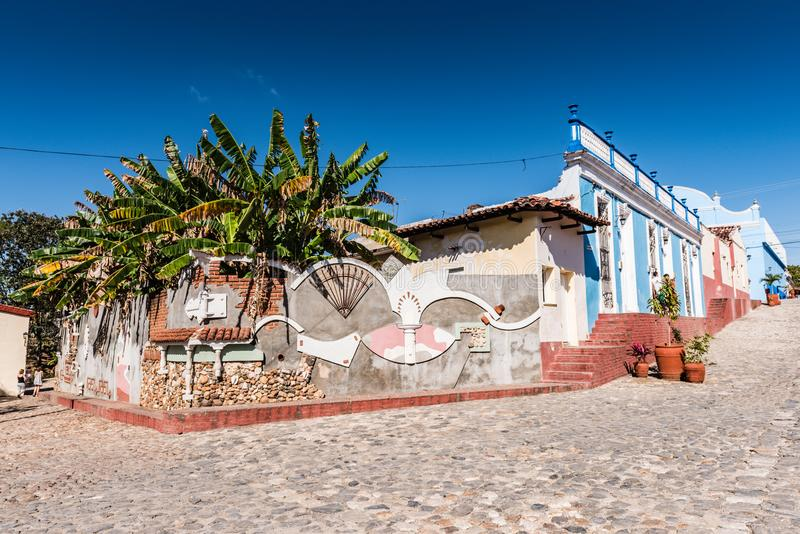 Sancti Spiritus Wall Art. Sancti Spiritus , Cuba / March 15, 2017: Colorful wall art on building facade in one of the oldest Cuban European settlements royalty free stock photo