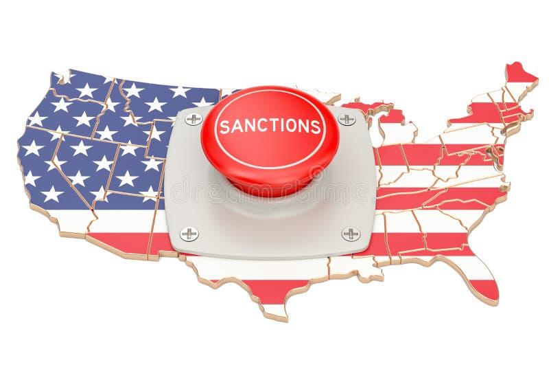 Sanctiesknoop op kaart van de V.S., het 3D teruggeven stock illustratie