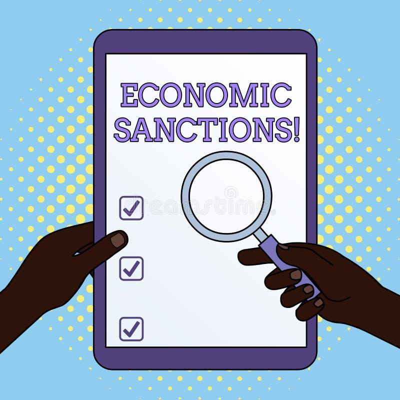 Sanction ?conomique des textes d'?criture de Word Concept d'affaires pour la punition de pénalité prélevée sur des autres mains d illustration libre de droits