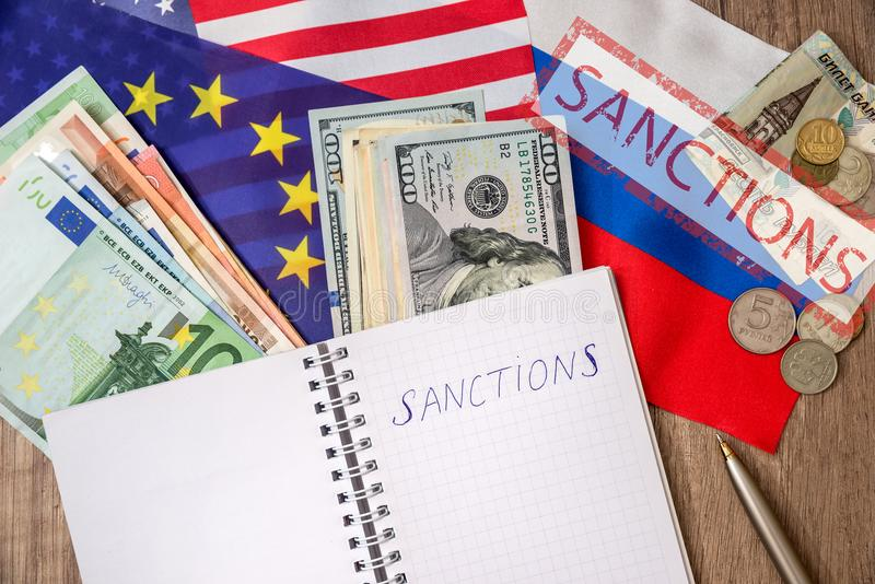 Sanctions of russia royalty free stock photography