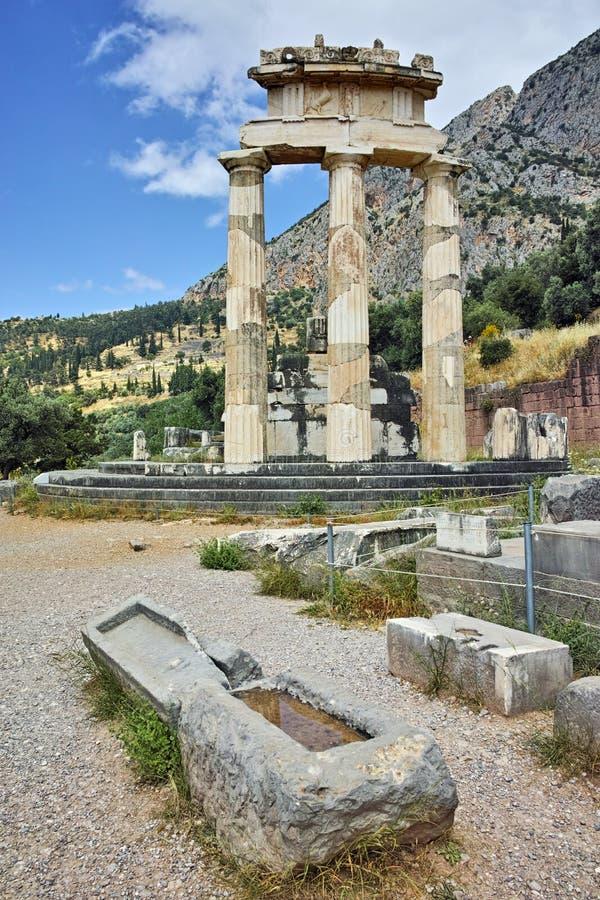 Sanctuaire d'Athéna Pronaia à Delphes, Grèce photos stock