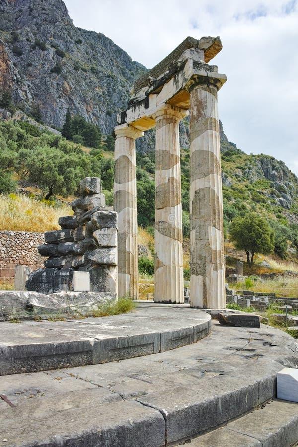 Sanctuaire d'Athéna Pronaia à Delphes, Grèce photographie stock