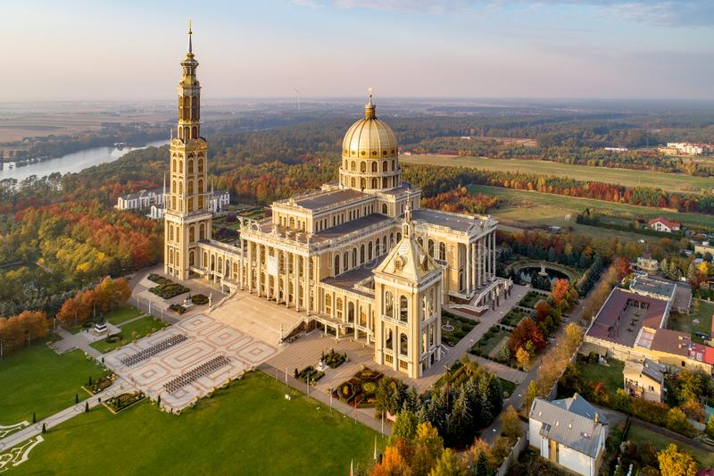 Basilica of Our Lady of Lichen in Poland. Aerial view. Sanctuary and Basilica of Our Lady of Licheń in small village Lichen. The biggest church in Poland royalty free stock photos