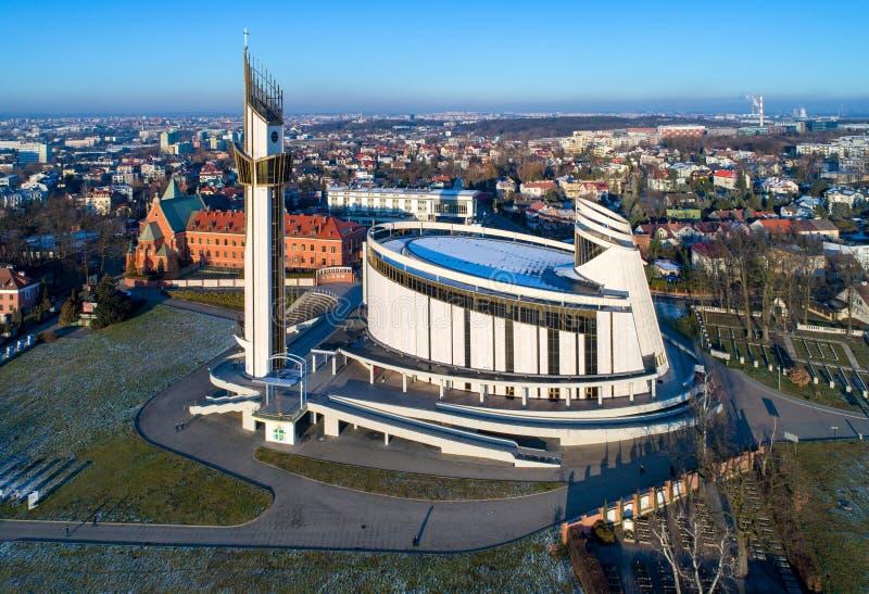 Sanctuary of Divine Mercy in Lagiewniki, Krakow, Poland. Sanctuary of Divine Mercy, church, park and cemetery in Lagiewniki, Cracow, Poland. Aerial view in