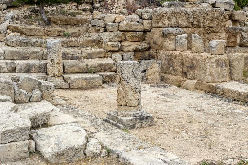 The Sanctuary of the goddess Hera Akraia in a small cove of the Corinthian gulf Archaeological site Heraion, Loutraki-Perachora,. Hellenistic stoa. The Sanctuary royalty free stock photos