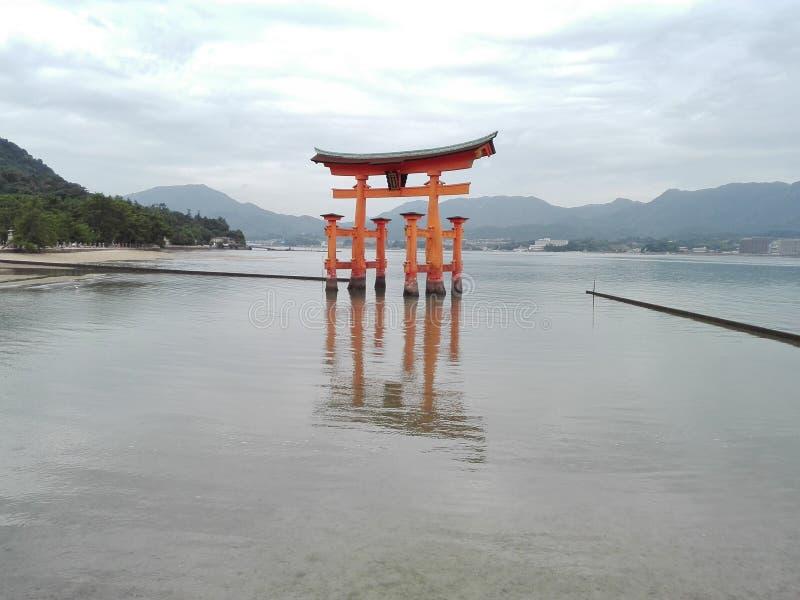 Sanctuary Itsukushima in Miyajima Island, Japan. Beautiful landscape of Itsukushima Shrine in Miyajima`s Island in Japan stock photo