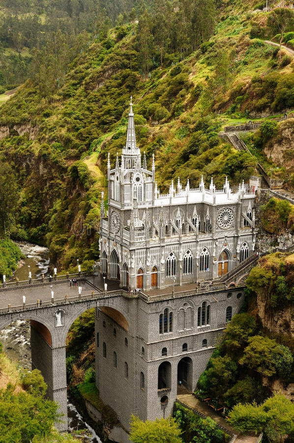 Sanctuary Las Lajas in Colombia royalty free stock images