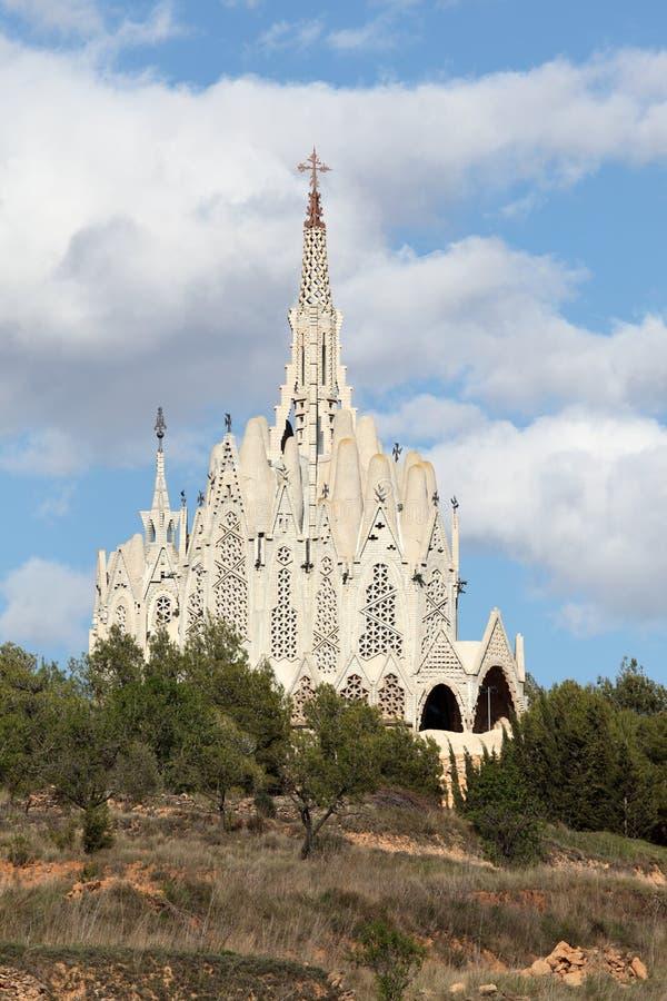 Sanctuary in Montferri, Spain. Sanctuary of Montserrat in Montferri, Tarragona province, Catalonia, Spain. By famous modernist architect Josep Maria Jujol stock photo
