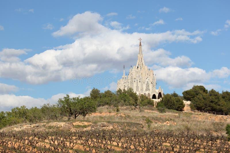 Sanctuary in Montferri, Spain. Sanctuary of Montserrat in Montferri, Tarragona province, Catalonia, Spain. By famous modernist architect Josep Maria Jujol royalty free stock images