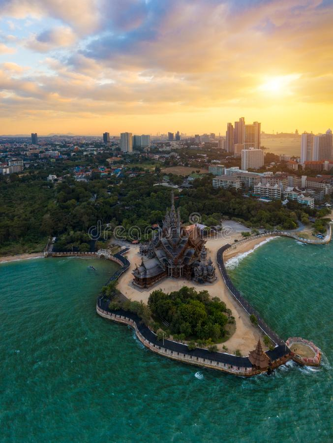 Sanctuary of Truth, Pattaya.Sanctuary of Truth, is a temple construction in Pattaya, Thailand royalty free stock photography