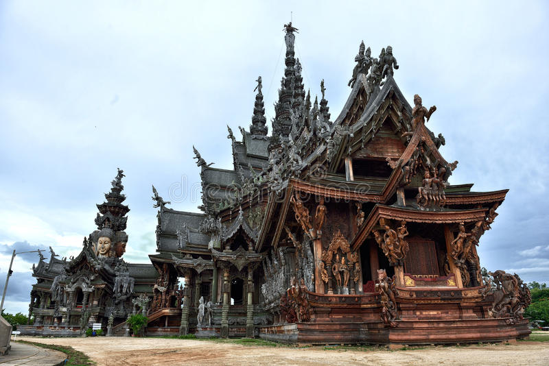 Sanctuary of Truth, Pattaya. Sanctuary of Truth, is a temple construction in Pattaya, Thailand. It is an all-wood building filled with sculptures based on royalty free stock photos