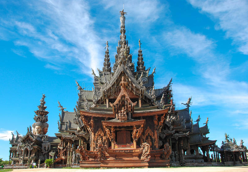 Sanctuary of Truth, Pattaya. Sanctuary of Truth, is a temple construction in Pattaya, Thailand. It is an all-wood building filled with sculptures based on royalty free stock images