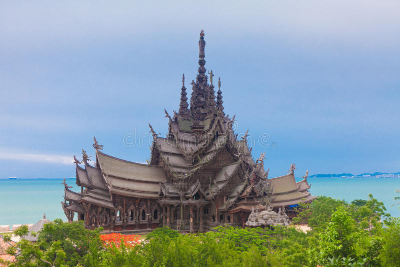 Sanctuary of Truth. Pattaya, Thailand royalty free stock photo