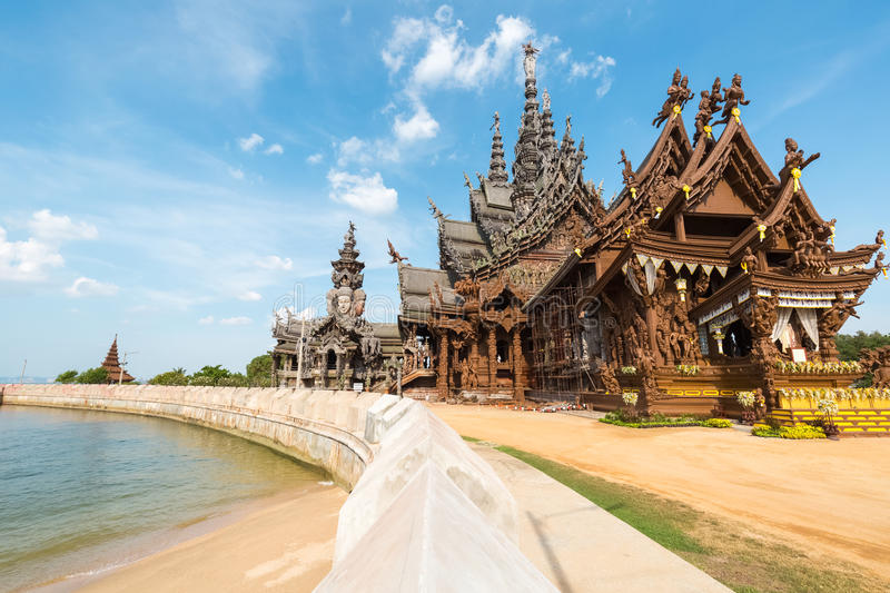 The sanctuary of truth in pattaya. Thailand,a gigantic wooden carve sculpture construction stock photos