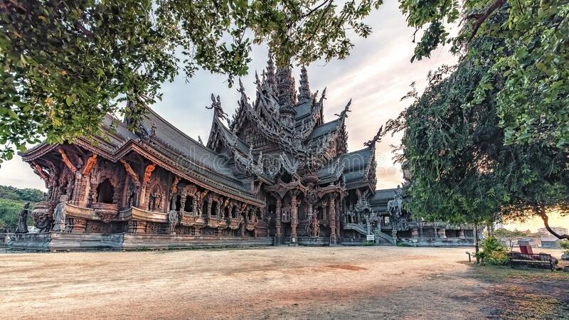 Sanctuary of Truth in Pattaya royalty free stock image