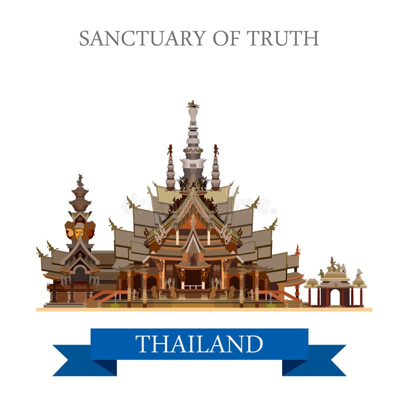 Sanctuary of Truth Thailand vector flat attraction travel vector illustration