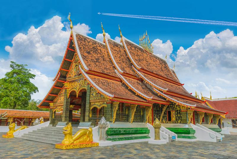 Sanctuary, Wang Kham Temple, Khao Wong District, Kalasin Province, with the blue sky cloud.The public property in Thailand. The sanctuary, Wang Kham Temple, Khao royalty free stock photos