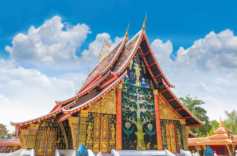 Sanctuary, Wat Wang Kham Temple, Khao Wong District, Kalasin Province, with the blue sky cloud.The public property in Thailand. The sanctuary, Wat Wang Kham royalty free stock photo
