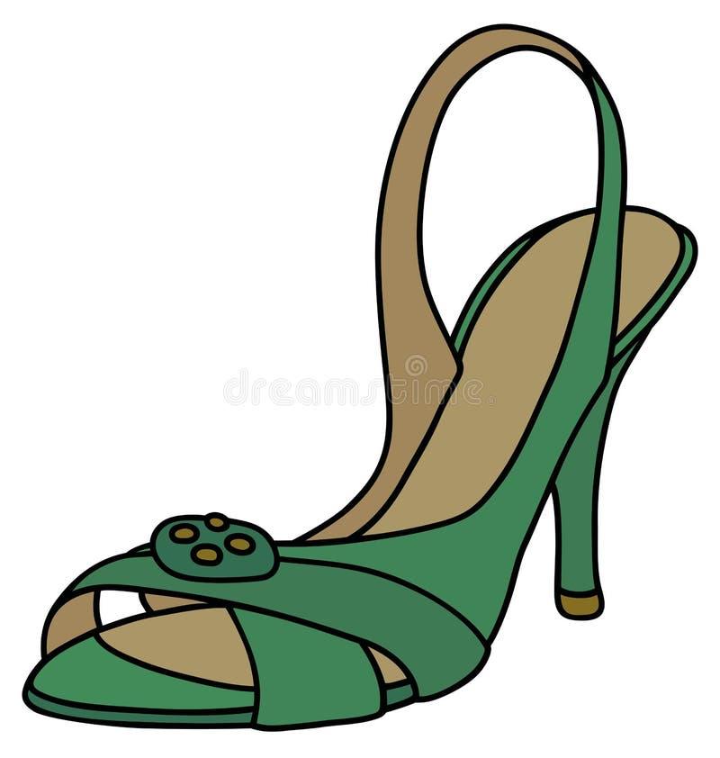 Sandália verde da fita ilustração royalty free
