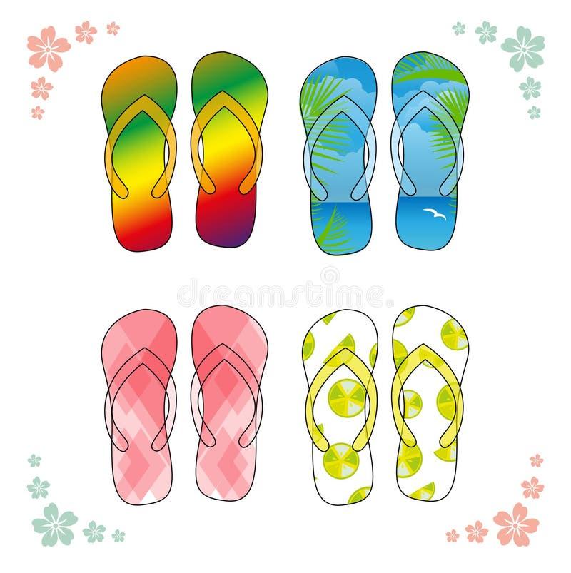 Sandálias da praia Flip-flops coloridos sobre o fundo branco ilustração do vetor