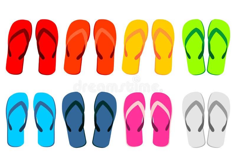 Sandálias da praia sobre o branco ilustração do vetor