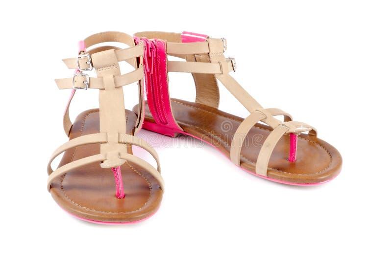 Sandálias de couro da mulher fotografia de stock royalty free