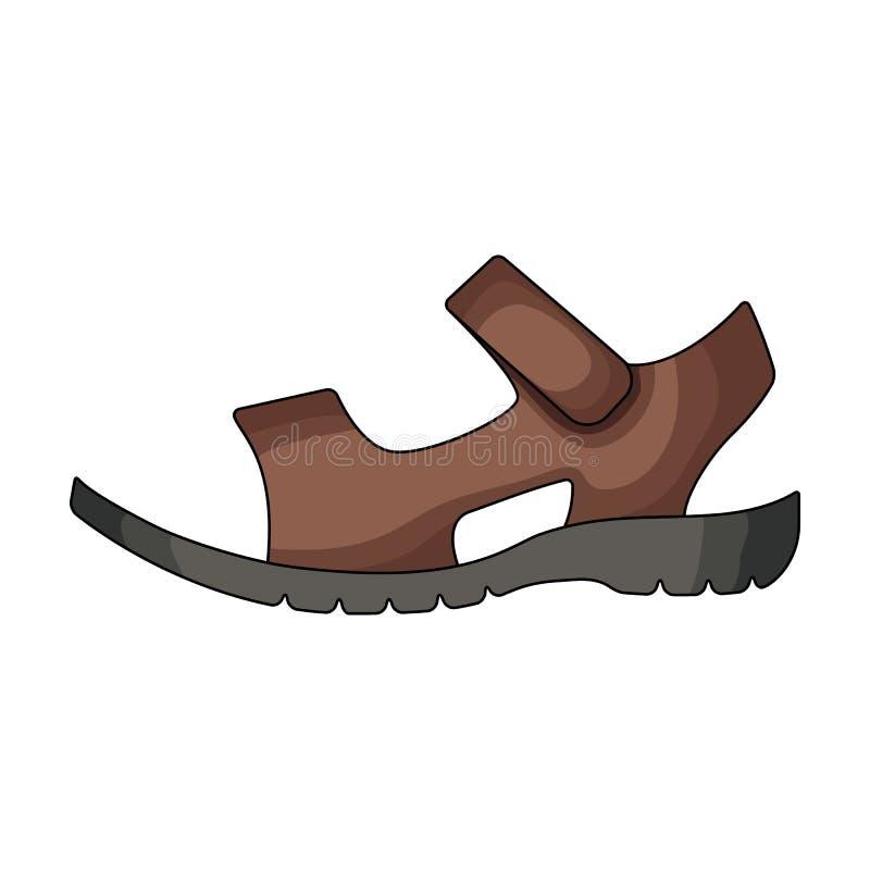 Sandálias do couro do marrom do verão dos homens em um pé desencapado As sapatas diferentes escolhem o ícone no estoque do símbol ilustração stock
