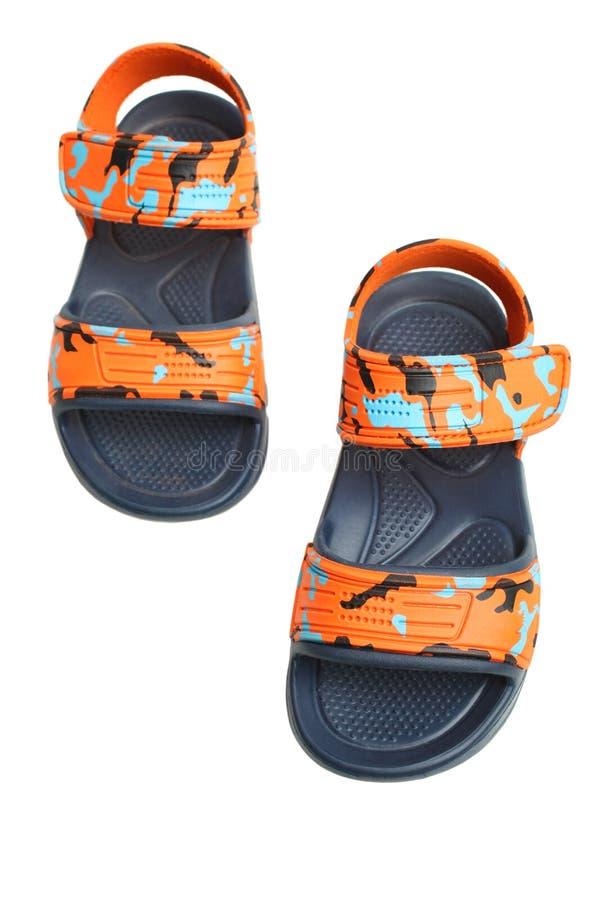 Sandálias do ` s das crianças do verão fotografia de stock royalty free