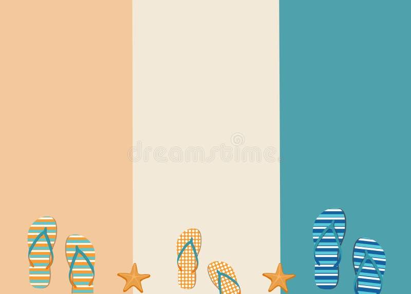 Sandálias e estrelas do mar em um fundo pastel criativo Conceito do ver?o ilustração do vetor