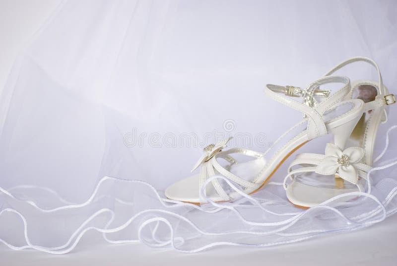 Sandálias e flores do casamento sobre o véu ilustração stock