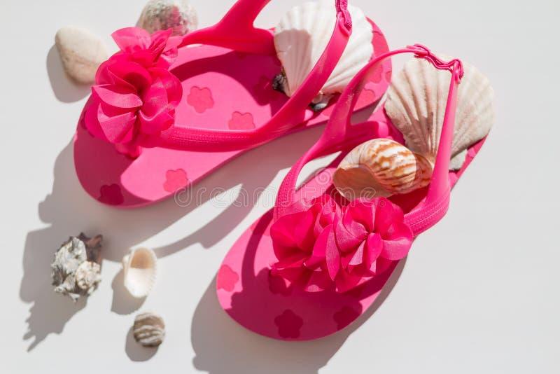Sandálias elegantes, conchas do mar no fundo branco, vista superior, configuração lisa sapatas cor-de-rosa do verão para crianças foto de stock