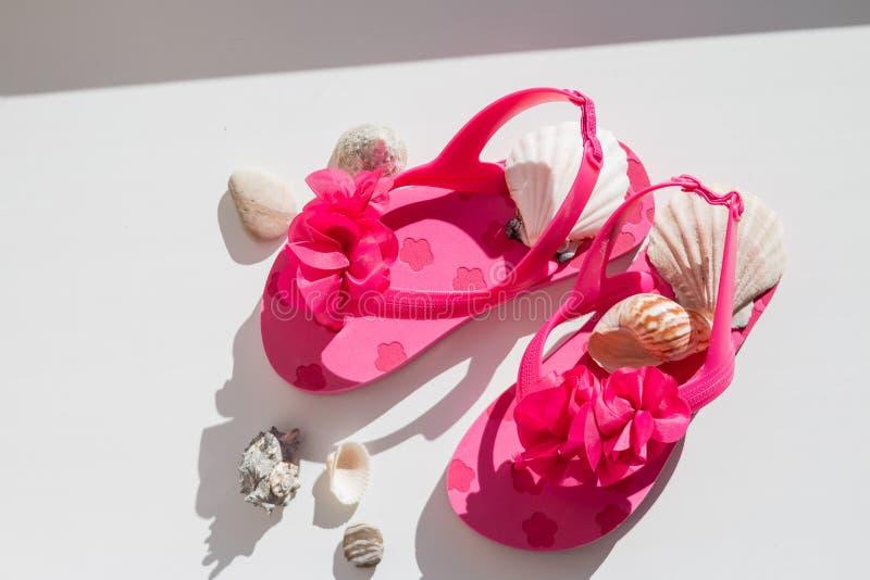 Sandálias elegantes, conchas do mar no fundo branco, vista superior, configuração lisa sapatas cor-de-rosa do verão para crianças imagem de stock
