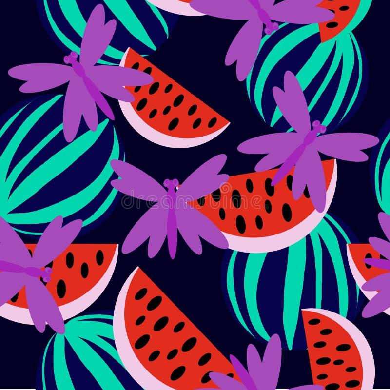 Sandía con la libélula libre illustration
