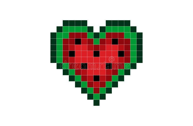 Sandía del corazón del pixel libre illustration