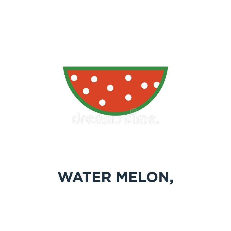 sandía, fruta de la rebanada de la sandía, icono sano fresco de la comida O ilustración del vector