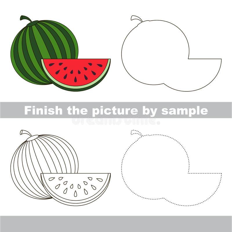 Sandía Hoja de trabajo del dibujo ilustración del vector
