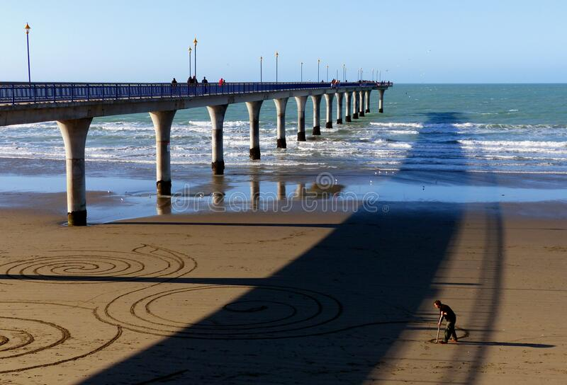 Sand artist. New Brighton Pier. royalty free stock images