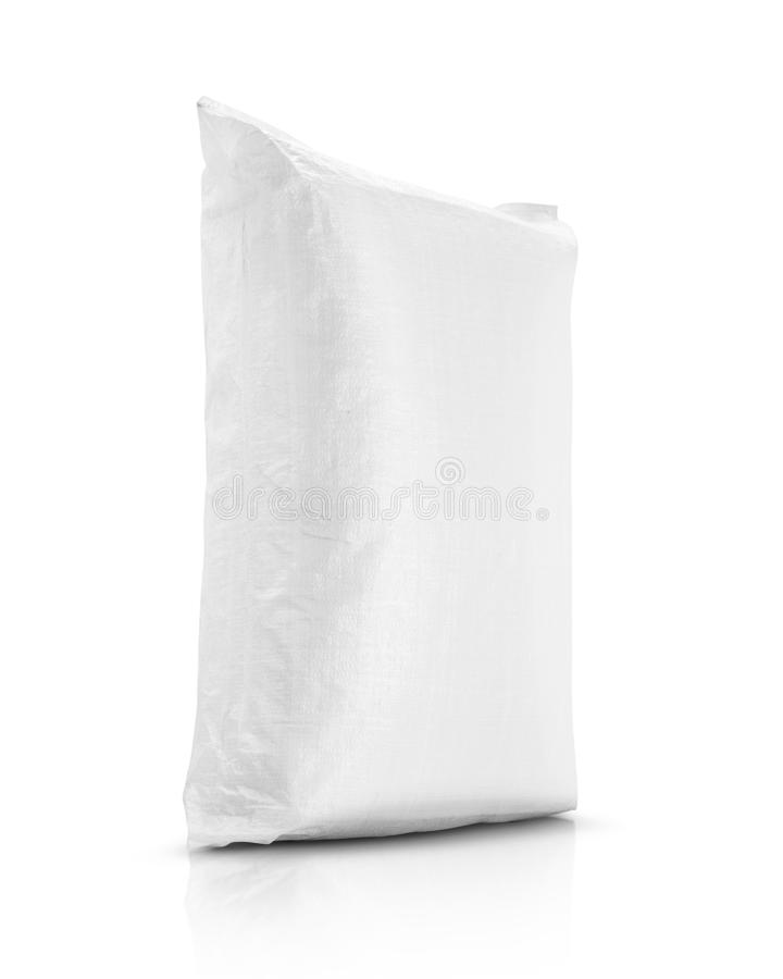 Sand bag or white plastic canvas sack for rice or agriculture product stock images