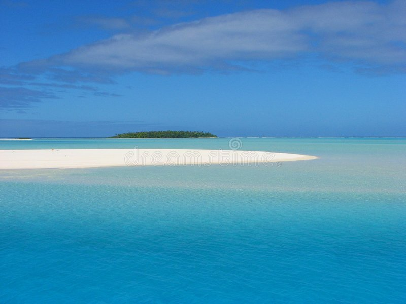 Sand Bank Near One Foot Island, Cook Islands Stock Photo