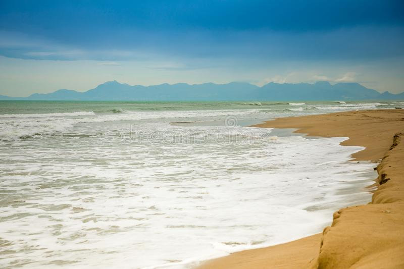 Sand beach in Paestum in cloudy day in winter, Cilento, Italy stock image