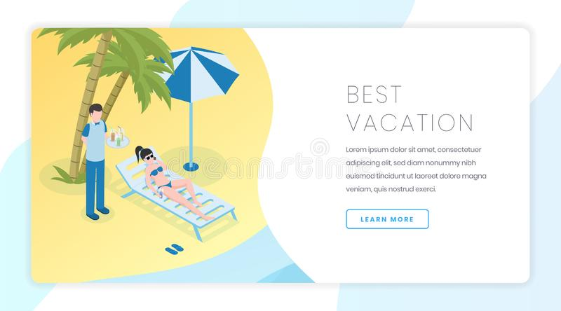 Sand beach recreation landing page template. Summer vacation, tropical resort website homepage interface idea with stock illustration