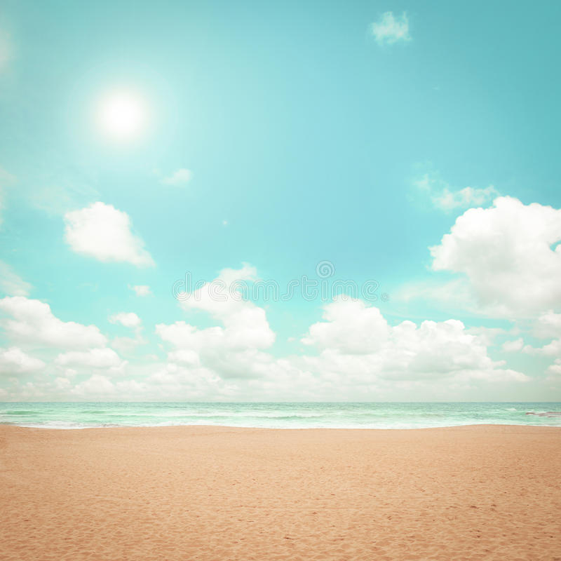 Beautiful Vintage Summer Seaside Illustration Royalty Free: Sand Beach In Summer Sky Background