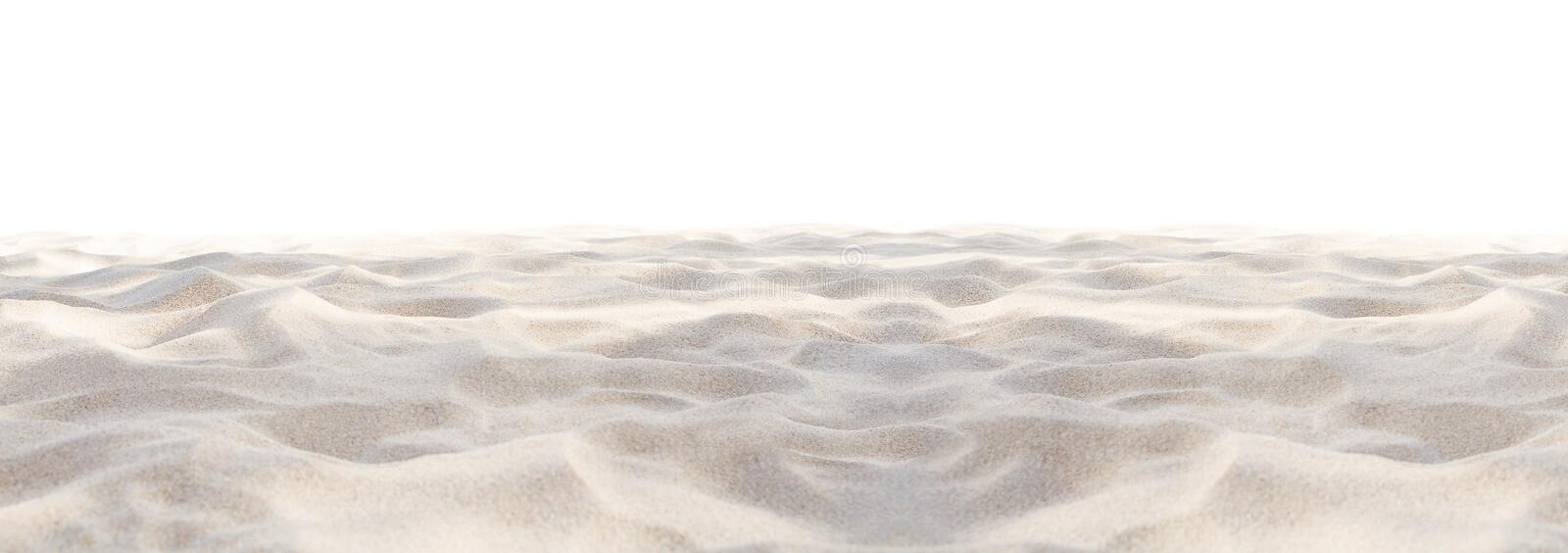 Sand beach texture isolated on white background. Mock up and copy space. Top view. Selective focus stock photography
